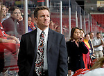 MADISON, WI - SEPTEMBER 29: Head coach Mark Johnson of the Wisconsin Badgers women's hockey watches his team during the game against the Quinnipiac Bobcats at the Kohl Center on September 29, 2006 in Madison, Wisconsin. The Badgers beat the Bobcats 3-0. (Photo by David Stluka)