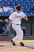 June 11th 2008:  Matt Brown of the Lake County Captains, Class-A affiliate of the Cleveland Indians, during a game at Classic Park in Eastlake,OH.  Photo by:  Mike Janes/Four Seam Images