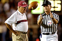 TALLAHASSEE, FL. 9/18/04-FSU Coach Bobby Bowden gives an official a piece of his mind during third quarter  action Saturday at Doak Campbell Stadium in Tallahassee...COLIN HACKLEY PHOTO