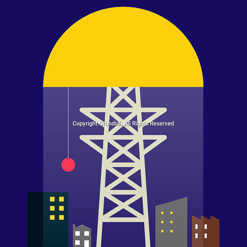 Abstract collage of power pole and illuminated city at night ExclusiveImage ExclusiveArtist ExclusiveArtist