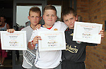 Dean Fitzpatrick, James McGinn and Kristian Sullivan with their certificates at the Moneymore After School Club Awards...Photo NEWSFILE/Jenny Matthews.(Photo credit should read Jenny Matthews/NEWSFILE)....This Picture has been sent you under the condtions enclosed by:.Newsfile Ltd..The Studio,.Millmount Abbey,.Drogheda,.Co Meath..Ireland..Tel: +353(0)41-9871240.Fax: +353(0)41-9871260.GSM: +353(0)86-2500958.email: pictures@newsfile.ie.www.newsfile.ie.FTP: 193.120.102.198.