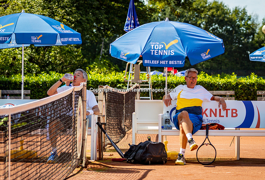 Hilversum, The Netherlands,  August 23, 2019,  Tulip Tennis Center, NSK, Rolf Thung (NED) and Jan Scjoemaker at changeover<br /> Photo: Tennisimages/Henk Koster