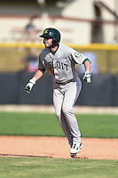 Beloit Snappers pinch runner Branden Cogswell (13) leads off second during a game against the Clinton LumberKings on August 17, 2014 at Ashford University Field in Clinton, Iowa.  Clinton defeated Beloit 4-3.  (Mike Janes/Four Seam Images)