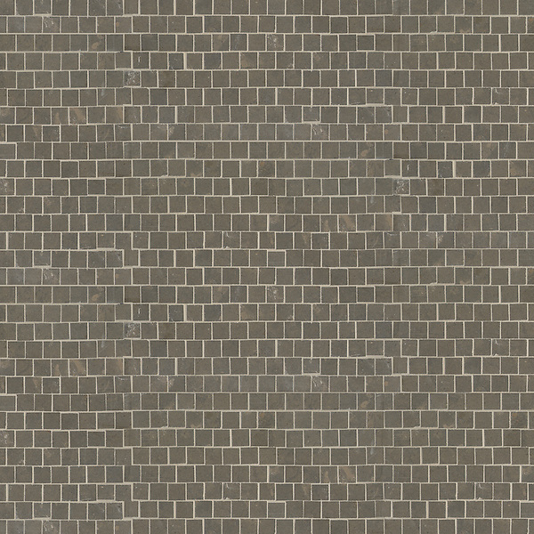 Staggered 2 cm, a hand-cut stone mosaic, shown in honed Montevideo.