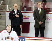 (Muse) John Hegarty (BC - Dir-Hockey Ops), Greg Brown (BC - Assistant Coach) - The Boston College Eagles defeated the visiting Merrimack College Warriors 3-2 on Friday, October 29, 2010, at Conte Forum in Chestnut Hill, Massachusetts.