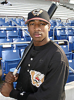 September 3, 2004:  Joe Hicks of the Williamsport Crosscutters during a game at Bowman Field in Williamsport, PA.  Williamsport is the Short Season Single-A NY-Penn League affiliate of the Pittsburg Pirates.  Photo By Mike Janes/Four Seam Images