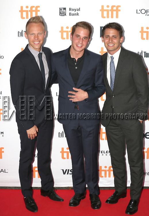 Benj Pasek, Ben Platt and Justin Paul attends the 'La La Land' Premiere during the 2016 Toronto International Film Festival at Princess of Wales Theatre on September 12, 2016 in Toronto, Canada.