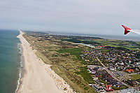 Sylt, Germany. Landing at Westerland Airport aboard an Air Berlin Airbus A320 from Düsseldorf. The beach at the Red Cliff at Kampen (background. l.) and Wenningstedt-Braderup (foreground r.).