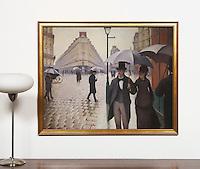 "Caillebotte: Rainy Day, Paris Street, Digital Print, , Framed Dims. 31.5"" x 39"" x 1"""