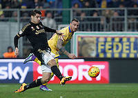 Calcio, Serie A: Frosinone vs Juventus. Frosinone, stadio Comunale, 7 febbraio 2016.<br /> Juventus&rsquo; Alvaro Morata, left, is challenged by Frosinone&rsquo;s Leonardo Blanchard during the Italian Serie A football match between Frosinone and Juventus at Frosinone's Comunale stadium, 7 January 2016.<br /> UPDATE IMAGES PRESS/Isabella Bonotto