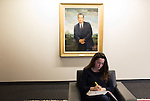 February 23, 2015. Durham, North Carolina.<br />  Car Grand, a 2nd year student, studies in the J. Michael Goodson Law Library under a portrait of former US president Richard Nixon.<br />  The Duke University School of Law is considered one of the best law schools in the country.