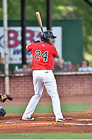 Elizabethton Twins designated hitter Amaurys Minier (24) awaits a pitch during a game against the Bristol Pirates at Joe O'Brien Field on July 30, 2016 in Elizabethton, Tennessee. The Twins defeated the Pirates 6-3. (Tony Farlow/Four Seam Images)