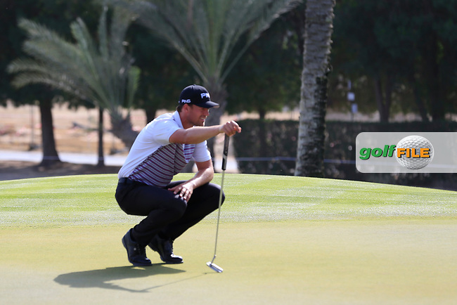 Victor Perez (FRA) on the 16th green during Round 4 of the Omega Dubai Desert Classic, Emirates Golf Club, Dubai,  United Arab Emirates. 27/01/2019<br /> Picture: Golffile | Thos Caffrey<br /> <br /> <br /> All photo usage must carry mandatory copyright credit (&copy; Golffile | Thos Caffrey)