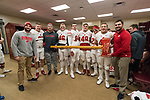 Wisconsin Badgers tight ends and full backs celebrates with the Paul Bunyan Axe in the locker room after an NCAA College Big Ten Conference football game against the Minnesota Golden Gophers Saturday, November 25, 2017, in Minneapolis, Minnesota. The Badgers won 31-0. (Photo by David Stluka)