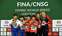 Gold medallists Yuxi Chen and Haoyan Yuan pose with silver medallists Rae Mi Kim and Mi Jin Jo, and Bronze medallists Eden Cheng and Lois Toulson<br /> <br /> Photographer Hannah Fountain/CameraSport<br /> <br /> FINA/CNSG Diving World Series 2019 - Day 1 - Friday 17th May 2019 - London Aquatics Centre - Queen Elizabeth Olympic Park - London<br /> <br /> World Copyright © 2019 CameraSport. All rights reserved. 43 Linden Ave. Countesthorpe. Leicester. England. LE8 5PG - Tel: +44 (0) 116 277 4147 - admin@camerasport.com - www.camerasport.com