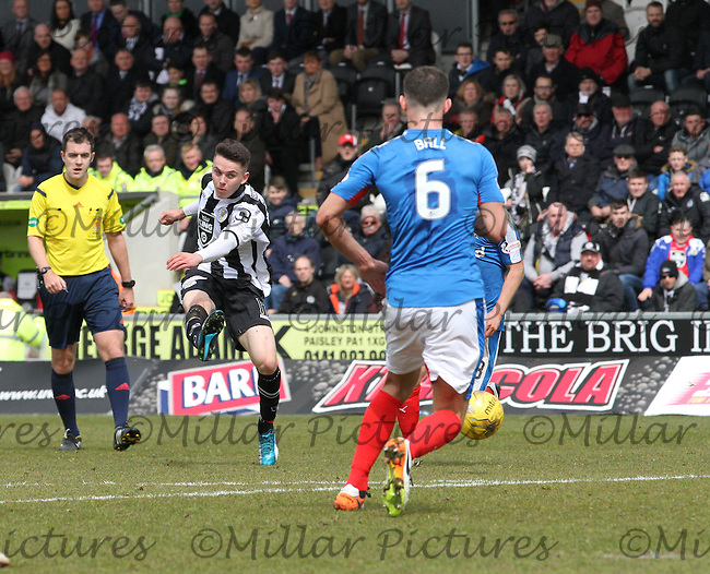 Lewis Morgan shoots to score in the St Mirren v Rangers Scottish Professional Football League Ladbrokes Championship match played at the Paisley 2021 Stadium, Paisley on 1.5.16.