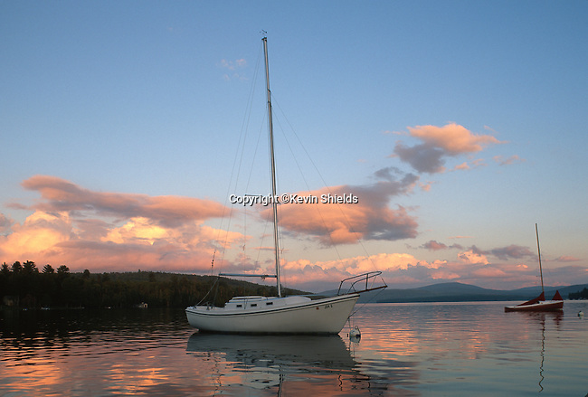 Anchored sailboats on Rangeley Lake, Rangeley, Maine, USA