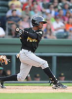 Outfielder Junior Sosa (28) of the West Virginia Power, a Pittsburgh Pirates affiliate, in a game against the Greenville Drive on May 19, 2012, at Fluor Field at the West End in Greenville, South Carolina. Greenville won 7-3. (Tom Priddy/Four Seam Images)