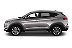 Car Driver side profile view of a 2019 Hyundai Tucson Inspire 5 Door SUV Side View
