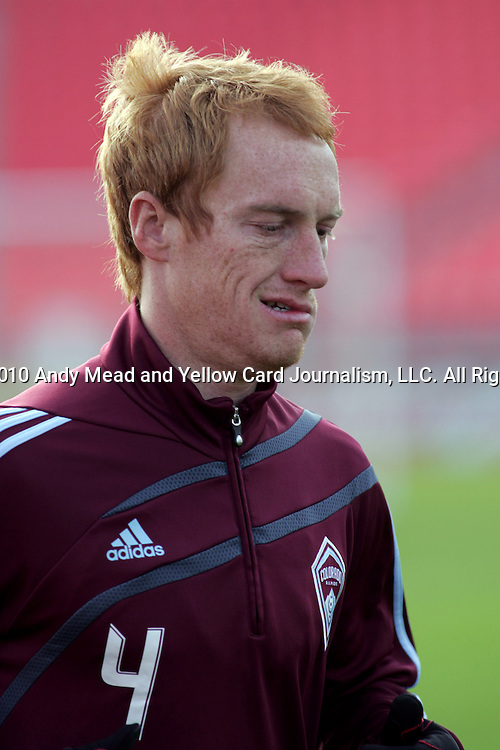 20 November 2010:  Jeff Larentowicz (4) of the Colorado Rapids.  Colorado Rapids held a practice at BMO Field, Toronto, Ontario, Canada as part of their preparations for MLS Cup 2010, Major League Soccer's championship game.