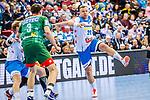Christian Zeitz (TVB Stuttgart #20) ; Piotr Chrapkowski (SC Magdeburg #3) beim Spiel in der Handball Bundesliga, TVB 1898 Stuttgart - SC Magdeburg.<br /> <br /> Foto © PIX-Sportfotos *** Foto ist honorarpflichtig! *** Auf Anfrage in hoeherer Qualitaet/Aufloesung. Belegexemplar erbeten. Veroeffentlichung ausschliesslich fuer journalistisch-publizistische Zwecke. For editorial use only.