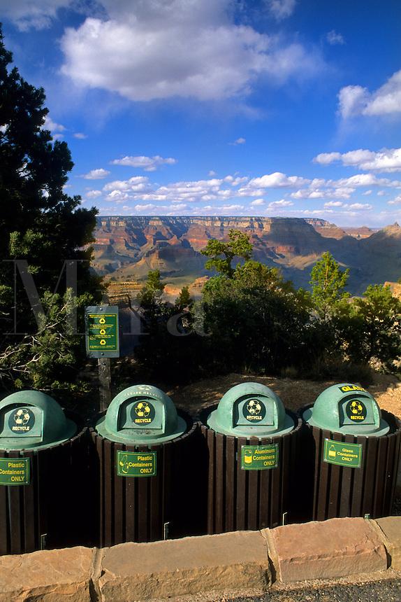 Recycling bins at South Rim of Grand Canyon beautiful image in Arizona US