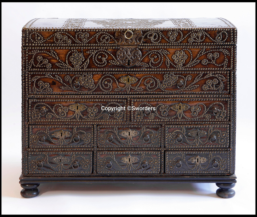 BNPS.co.uk (01202 558833)<br /> Pic: Sworders/BNPS<br /> <br /> Leather George 1st travelling chest, est £5000.<br /> <br /> The £1million contents of a majestic 16th century English country house including its eye-catching tapestries, paintings and antique furniture have emerged for sale.<br /> <br /> The jewel in the crown in the everything must go sale at North Mymms Park is a collection of 19 large European tapestries which are each valued at £20,000.<br /> <br /> The 12ft by 17ft tapestries were crafted in weaving workshops across northern Europe from the mid 16th to mid 18th century and have hung in the Grade I listed manor 'of exceptional interest' near Colney, Herts, for over 100 years. <br /> <br /> They were purchased by Anglo-American banker Walter Hayes Burns who acquired the estate in 1893 to accommodate his growing art collection and whose family owned it until 1979.