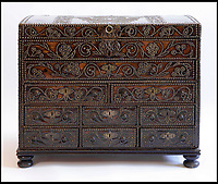 BNPS.co.uk (01202 558833)<br /> Pic: Sworders/BNPS<br /> <br /> Leather George 1st travelling chest, est &pound;5000.<br /> <br /> The &pound;1million contents of a majestic 16th century English country house including its eye-catching tapestries, paintings and antique furniture have emerged for sale.<br /> <br /> The jewel in the crown in the everything must go sale at North Mymms Park is a collection of 19 large European tapestries which are each valued at &pound;20,000.<br /> <br /> The 12ft by 17ft tapestries were crafted in weaving workshops across northern Europe from the mid 16th to mid 18th century and have hung in the Grade I listed manor 'of exceptional interest' near Colney, Herts, for over 100 years. <br /> <br /> They were purchased by Anglo-American banker Walter Hayes Burns who acquired the estate in 1893 to accommodate his growing art collection and whose family owned it until 1979.