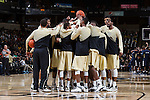 The Wake Forest Demon Deacons huddle up prior to the start of the second half of play against the Mount St. Mary's Mountaineers at the LJVM Coliseum on November 26, 2014 in Winston-Salem, North Carolina.  The Demon Deacons defeated the Mountaineers 83-49.   (Brian Westerholt/Sports On Film)