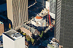 Aerial photo of the Rainier Club and former Mars Hill Church tucked amid the skyscrapers of downtown Seattle