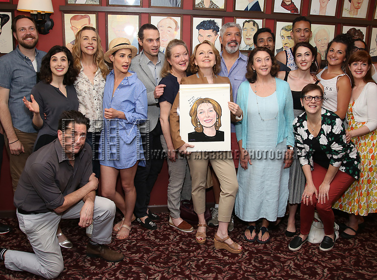 Moritz von Stuelpnagel, Reg Rogers, Tedra Millan, Ellen Harvey, Cobie Smulders, Jordan Roth and Kate Burton with the cast of 'Present Laughter' attend the Sardi's Caricature Unveiling for Kate Burton joining the Legendary Wall of Fame at Sardi's on June 28, 2017 in New York City.