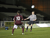 Paul McGinn crossing in the St Mirren v Heart of Midlothian Clydesdale Bank Scottish Premier League U20 match played at St Mirren Park, Paisley on 6.11.12.