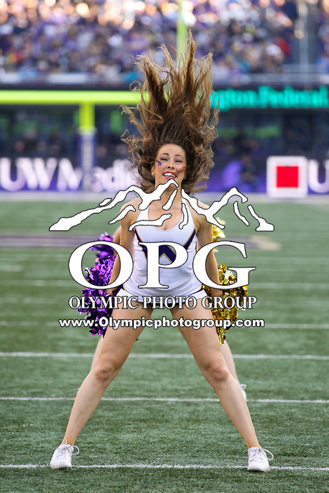 SEATTLE, WA - OCTOBER 28:  Washington cheerleader Megan Dolan entertained fans during the game against UCLA on October 28, 2017 at Husky Stadium in Seattle, WA. Washington won 44-23 over UCLA.