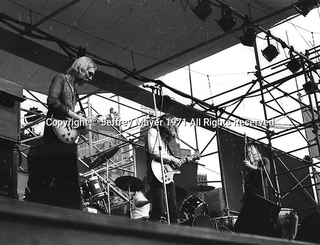NEW YORK CITY, N.Y. - July 17: The Allman Brothers Band  performs at the Schaefer Music Festival in Central Park, New York on July 17, 1971 in New York City, New York.
