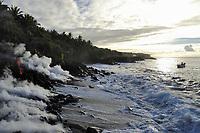 Sunrise, Lava Ocean Advetures lavakat tour boat, Lava flow ocean entry next to Fox's Landing black sand beach on Hakuma Horst, Lava flow in the trees, Near Hawaii, USA Volcanoes National Park, Kalapana, Hawaii, USA, The Big Island of Hawaii, USA