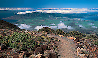 The beauty of the central valley is seen from high atop HALEAKALA NATIONAL PARK on Maui in Hawaii