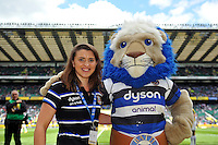 Marketing Virtuoso Kat Farmer and Bath Rugby mascot Maximus pose for a photo prior to the match. Aviva Premiership Final, between Bath Rugby and Saracens on May 30, 2015 at Twickenham Stadium in London, England. Photo by: Patrick Khachfe / Onside Images