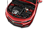 Car stock 2018 Chevrolet Malibu Premier 4 Door Sedan engine high angle detail view