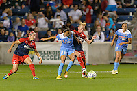 Chicago, IL - Saturday Sept. 24, 2016: Christen Press, Joanna Lohman during a regular season National Women's Soccer League (NWSL) match between the Chicago Red Stars and the Washington Spirit at Toyota Park.