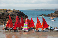 Dingys getting ready for sailing at Porth Diana, Trearddur Bay, Anglesey, Wales.