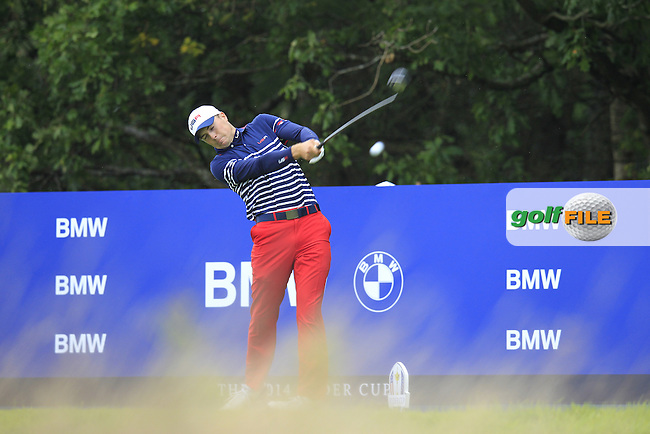 Jordan Spieth (USA) tees off the 15th tee during Sunday's Singles Matches of the Ryder Cup 2014 played on the PGA Centenary Course at the Gleneagles Hotel, Auchterarder, Scotland.: Picture Eoin Clarke, www.golffile.ie: 28th September 2014