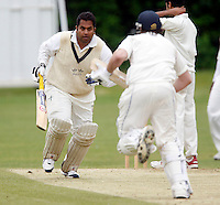 Hornsey captain Chetan Patel in action during the Middlesex County Cricket League Division Three game between Hornsey and Wembley at Tivoli Road, Crouch End, London on Sat May 29, 2010