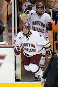 Dan Bertram (BC - 22), Brian O'Hanley (BC - 23) - The Boston College Eagles defeated the visiting Northeastern University Huskies 7-1 on Friday, March 9, 2007, to win their Hockey East quarterfinals matchup in two games at Conte Forum in Chestnut Hill, Massachusetts.