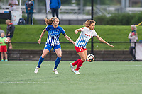 Boston, MA - Friday July 07, 2017: Julie King and Sofia Huerta during a regular season National Women's Soccer League (NWSL) match between the Boston Breakers and the Chicago Red Stars at Jordan Field.