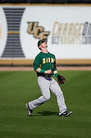 Siena Saints left fielder Dan Lowndes (8) gets under a fly ball during a game against the UCF Knights on February 21, 2016 at Jay Bergman Field in Orlando, Florida.  UCF defeated Siena 11-2.  (Mike Janes/Four Seam Images)
