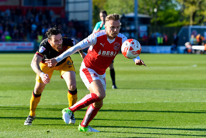 Fleetwood Town's David Ball holds off Bradford City's Romain Vincelot<br /> <br /> Photographer Terry Donnelly/CameraSport<br /> <br /> The EFL Sky Bet League One Play-Off Second Leg - Fleetwood Town v Bradford City - Sunday 7th May 2017 - Highbury Stadium - Fleetwood<br /> <br /> World Copyright &copy; 2017 CameraSport. All rights reserved. 43 Linden Ave. Countesthorpe. Leicester. England. LE8 5PG - Tel: +44 (0) 116 277 4147 - admin@camerasport.com - www.camerasport.com