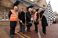 Ready, steady, go! Lincoln Station is refubishing their ticket office and pictured at the start of works are, from left: Robert Kirkland, Director of Construction for Bowmer and Kirkland, Chris Briggs, Head of Transportation for Lincolnshire County Council, County Councillor Stuart Kinch, Neil Micklethwaite, Customer Service & Commercial Director for East Midlands Trains and Lisa Argus, Customer Relations Manager for Network Rail