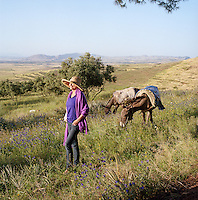 Fashion designer Liza Bruce admiring the view of the Ourika Valley in Morocco