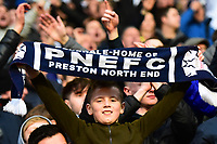 A young Preston North End fan celebrates<br /> <br /> Photographer Richard Martin-Roberts/CameraSport<br /> <br /> The EFL Sky Bet Championship - Bolton Wanderers v Preston North End - Saturday 9th February 2019 - University of Bolton Stadium - Bolton<br /> <br /> World Copyright &copy; 2019 CameraSport. All rights reserved. 43 Linden Ave. Countesthorpe. Leicester. England. LE8 5PG - Tel: +44 (0) 116 277 4147 - admin@camerasport.com - www.camerasport.com