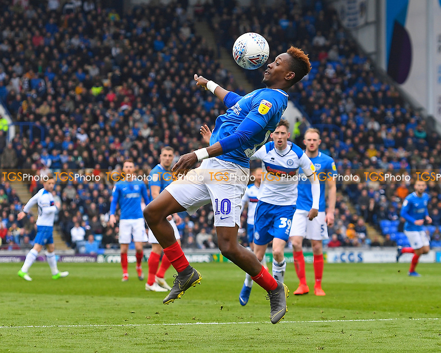 Jamal Lowe of Portsmouth brings the ball under control during Portsmouth vs Rochdale, Sky Bet EFL League 1 Football at Fratton Park on 13th April 2019